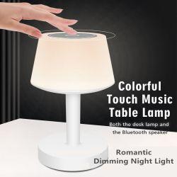 Светодиод музыкальные настольные лампы Bluetooth громкоговоритель сенсорные затемнение настольная лампа динамик 7 разноцветных ночного освещения