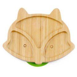 Custom Panda Fox bambu natural bebê prato de frutas Toddler Filhos da placa de alimentação de sucção com forquilha de colher