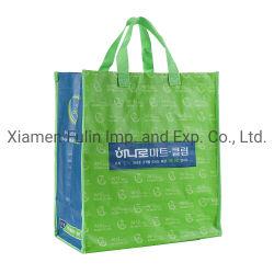 도매 유행 주문 Eco-Friendly 녹색에 의하여 박판으로 만들어지는 PP 길쌈된 선전용 재사용할 수 있는 부대