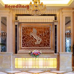 Schnitzen der Entwurfs-Bildschirm-Hotel-Vorhalle-Wand-Dekoration mit Metallbildschirm