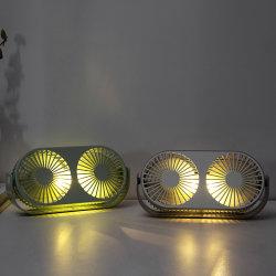 이중 맨 위 팬 재충전용 LED 가벼운 사무실 2 바탕 화면 USB 소형 팬