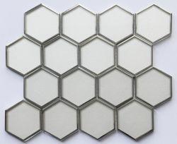 Maille hexagonale monté sur le miel Comb Mosaïque de verre avec E-placage pour Backspalsh de châssis
