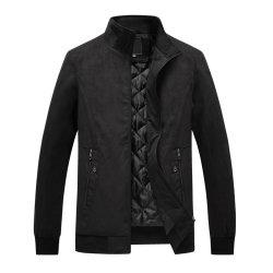 Los hombres de moda casual del botón bolsillo Thermal top coat chaqueta de cuero