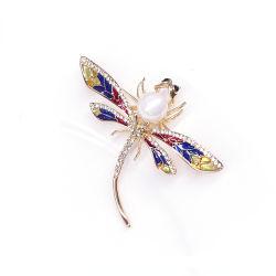 Vintage High-End Dragonfly Seide Schal Schnalle Bekleidung Accessoires Tier Brosche