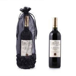 Organza Negro Botella de vino personalizada bolsa con cordón de satén Rosa de alta calidad de cinta