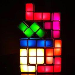 LED magnético operado USB Tetris Puzzle Tangram Empilháveis Luz Luz nocturna de brinquedos