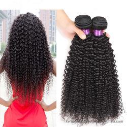 卸し売りペルーの人間の毛髪のアフリカのねじれた巻き毛の織り方のバージンのRemyの毛のよこ糸は人間の毛髪のかつらに作ることができる