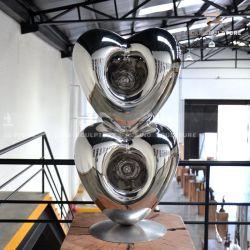 Élaborer de coeur à coeur la sculpture en acier inoxydable de la surface de polissage miroir comme décoration maison