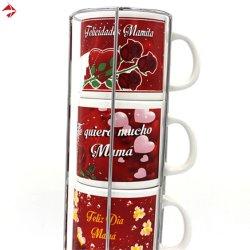 Stapelbarer Keramik-Kaffeebecher-Set in Metall-Rack, Steinzeug-Tasse mit personalisiertem Aufkleber