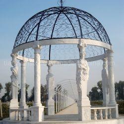Jardim fez mão esculpida em pedra mármore Gazebo/ Pagoda / Gloriette / Pavilion para decoração exterior