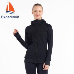 Sade Full-Zip jaqueta de tricotar com o capô para lazer