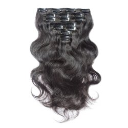 "16"" N°1b Clip de Virgin Remy Hair Extensions naturelles de l'homme corps noir vague 7PCS"