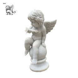 Cute Little Boy et Butterfly prix d'usine figure de façon éclatante sculpture en marbre Mfsc-047