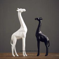 Noir et blanc Polyresin décoratifs Flexagon girafe, figurine, commerce de gros
