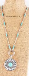 La mode Anti Silver Handmade rond et Turquoise naturelle Collier Pendentif en pierre