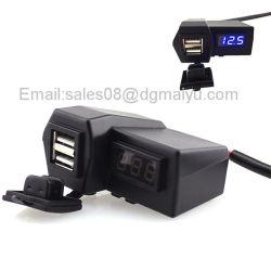 12 ~ 24 V 防水オートバイカー ATV デュアル USB 充電器デジタル電圧計 ハンドバーマウント付きシガーライター電源プラグ