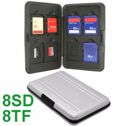 8 emplacements d'argent en aluminium pour SD/SDHC/SDXC + 8 emplacements pour carte micro SD de détenteur de carte Micro SD SDXC détenteur de carte mémoire de stockage de l'affaire