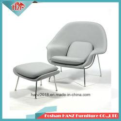 Restaurante Casa moderna de la fibra de vidrio tejido de lana muebles Hotel vientre sillón con otomana (Q431)