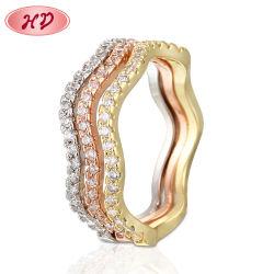 18K Rose weißes Goldschellt überzogener Form-Kostüm-nachgemachter silberne Hochzeits-Finger-Charme Schmucksachen für Frauen