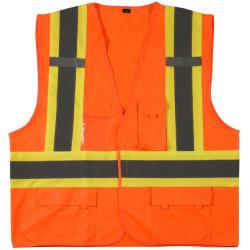 Orange Weste-reflektierende Sicherheits-Weste mit Flausch ANSI-Arbeitskleidung
