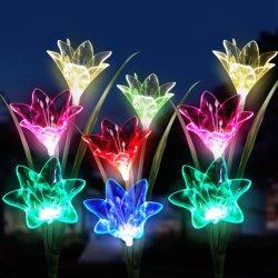 Kunstbloem van de Lelie van de Bloem van de LEIDENE de ZonneLichten van de Tuin met Zonne LEIDEN Licht