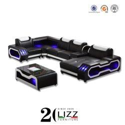 2020 Novo design do mobiliário moderno Leisure Home/Office/Hotel Luxury LED indutivo Sala Chaise sofá de canto com mesa