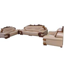 贅沢な様式のソファーは1+2+3/の7つSeaterのホームまたは別荘のホテルの居間ファブリックか革ソファーをセットした