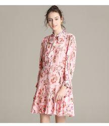 숙녀 의 긴 소매 실크 복장, 실크 의복, 실크 옷을%s 100% 실크 옷. 실크 의복
