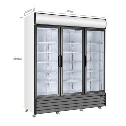 Supermercado Frigorífico Comercial Gabinete Personalizado Porta tripla refrigerador com luzes LED