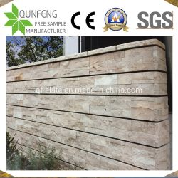 中国の自然な分割表面ベニヤのパネル文化石塀のTravertine