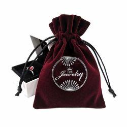 Custom Logo schermo stampato Collana Gioielli vino rosso velluto string Custodia per borsa