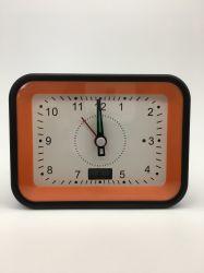 Nueva promoción de la promoción de la decoración del hogar Giftclock naranja movimiento controlado por Radio Reloj Despertador con retroiluminación LED