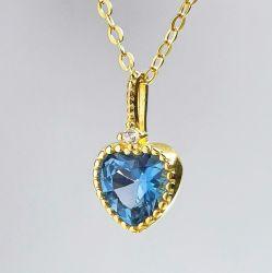 Joyería de Plata chapada en oro 18K de zirconio en forma de Corazón Collar Plata Esterlina