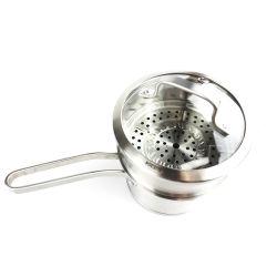 Potenciômetro de sopa de aço inoxidável aço inoxidável 304 2 Camadas pote de leite com alavanca única