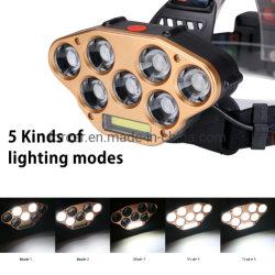 USB frontal linterna recargable linterna cabeza de 5 modos de iluminación de la luz de la caza Camping