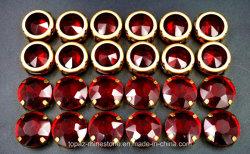 Il vetro dei branelli della branca di figura rotonda del Siam cuce sul diamante di cristallo con la branca per i monili di costume (Cr-Siam)