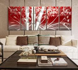 Бамбук 3D металлические масляной живописи современный интерьер декоративные настенные искусства 100% ручной работы