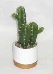 Trois Faux Cactus en céramique du semoir avec petite roche - plante artificielle pour la décoration intérieure