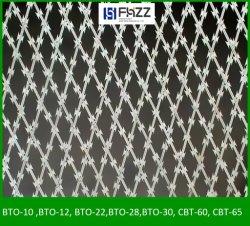 Netwerk het Met weerhaken van het Scheermes van het concertina dat bij Luchthavens wordt gebruikt