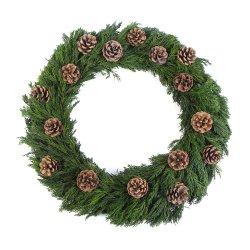 18 pouces Cypress décoratifs de Noël gerbe de fleurs avec de petites pomme de pin