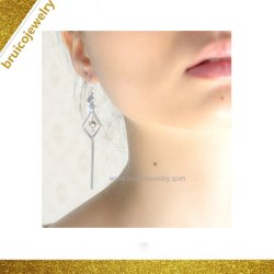 Верхней Части класса специально Дизайн элегантных серебристые с 18K Gold покрытие давно Tassel Earring для девочек