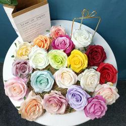 Vástago de la Seda artificial solo Rosas Rosas Blancas flores