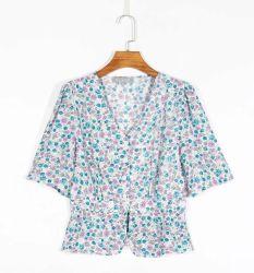 De hete Verkoop paste Katoen V van 100% Overhemd van de Vrouwen van de Meisjes van de Stijl van de Hals aan het Lange Koker Afgedrukte