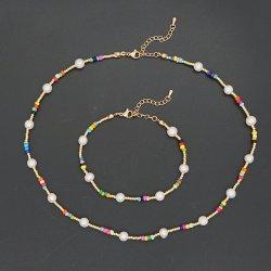 Mlgm Collane Real Pearl Beaded Choker Estate Beach Collana per Donna Gioielli 2021 Moda Perle Collier Donna Accessorios Rainbow Seed Catene di tallone