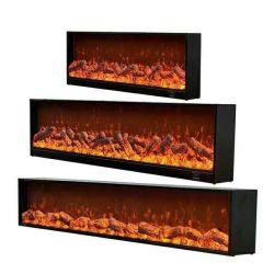 مدفأة كهربائية جانبية واحدة تُدرج حرقًا خشبيًّا مع ديكور ثلاثي الأبعاد مدفأة اللهب