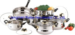 12 PCS-Edelstahl-Küche-Waren im Cookware eingestellt mit unterschiedlicher Farben-Glas-Kappe