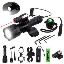 전술 사냥 Flashlight C8 LED 라이플 건 라이트 + 레이저 도트 시선 스코프 + 스위치 + 20mm 레일 배럴 마운트 + 18650+ 충전기 플래시라이트