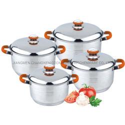 2021 Los recién llegados de silicona roja mango suave 8pcs Stock Pot de acero inoxidable para cocina de inducción