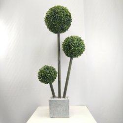 La decoración de interiores y exteriores verde Artificial Topiary arboles de bola de boj tronco PE