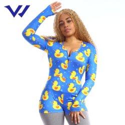 Sexy con cuello en V Pato pijama de manga larga y pantalones cortos Jumpsuit de impresión Jumpsuit Nighty Casual mujeres Plus Size Desgaste del sueño